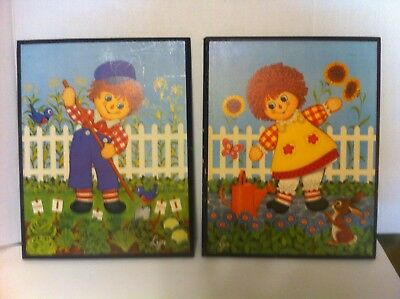"""""""Raggedy Ann & Andy""""  VINTAGE (1970's)  Wall Hangings by Lyn 15 X 12  Set of 2"""