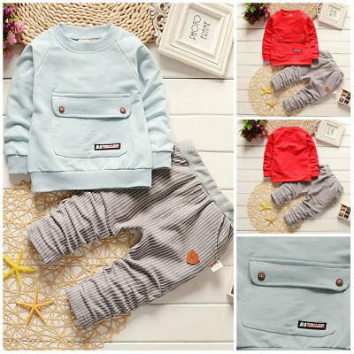 2pc Baby clothes Toddler kids baby boys pullover top &pants outfits tracksuit