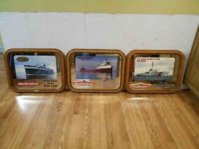 Lot of 3 Budweiser Great Ships Great Lakes Mirror Fitzgerald, Badger, Mackinaw