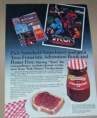 1982 ad page - Smucker's strawberry jam TRON Walt Disney movie PRINT ADVERTISING