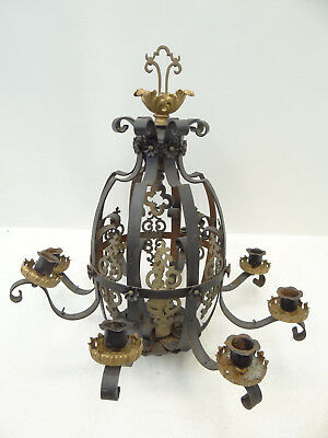 Antique Black Wrought Iron Gothic Candle Holder Hanging Chandelier Architectural