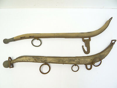 Antique Old Brass Iron Wood Yoke Sleigh Horse Arms Parts Decorative Primitive