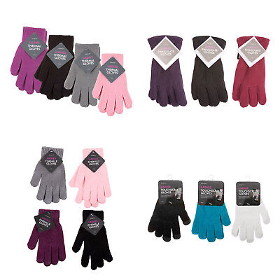Ladies Winter Gloves, Chenille, Thermal, Thinsulate, Gripper, Touchscreen women