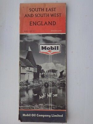 Vintage South East & South West England Mobil Map No 1 1960's