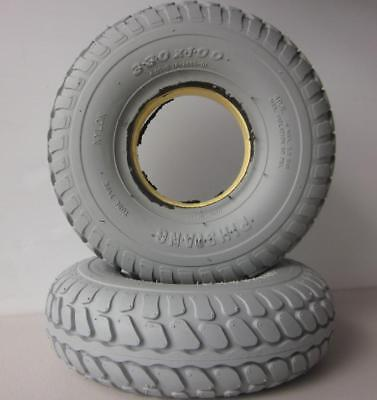 """2 Rear Mobility Scooter Solid Puncture Proof Tyres 4.00 x 5"""" (330 x 100) Grey"""