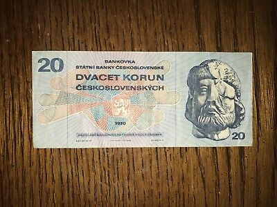 20 Korun CZECHOSLOVAKIA Banknote, World Old Money, Vintage Foreign Currency