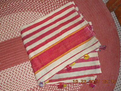 18Th Century Hand Woven Hand Dyed Wool Blanket Single Panel W Red/yellow Stripes