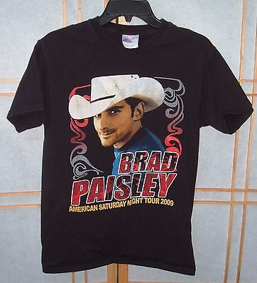 American Saturday Night Tour BRAD PAISLEY Adult Size Small Black T-Shirt