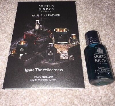 Molton Brown Russian Leather Bath & Shower Gel + Fragranced Tattoos Bundle Lot