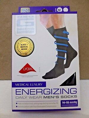 Neo G Energizing Daily Wear Socks Medium Black size 4-7 UK 14-18mmHg Compression