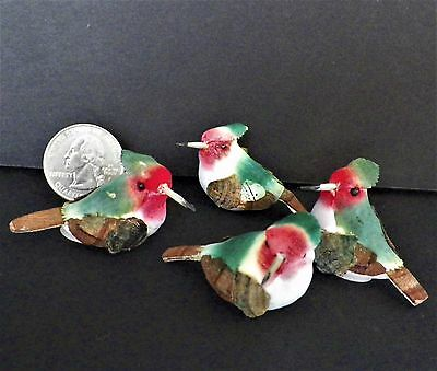 4 Vintage Flocked Hummingbirds Crafts Ornaments Package Trims Hand Decorated