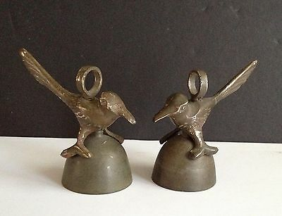 2 Vintage/Antique Brass Dinner Table Bird Bells..No Clappers..3 X 2 3/4 Inches
