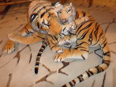 Giant Bengal Tiger & Cub Best Made Toys Plush 5 Ft. long w/tail New with Tags VF