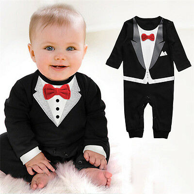 074902b581e Baby Boy Formal Suit Party Wedding Tuxedo Gentleman Romper Jumpsuit Outfit
