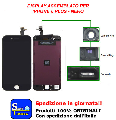 Display Lcd + Touch Screen Nero Per Apple Iphone 6 Plus Tianma Vetro Schermo