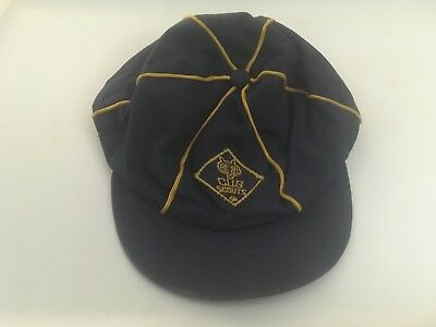 Vintage Cub Scout Hat ball Cap-Blue w gold stripping size6 not-adjustable