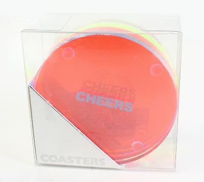 INC NEW Blue Orange One Size Four-Pack Lucite Clear Cheers Coaster $29 368