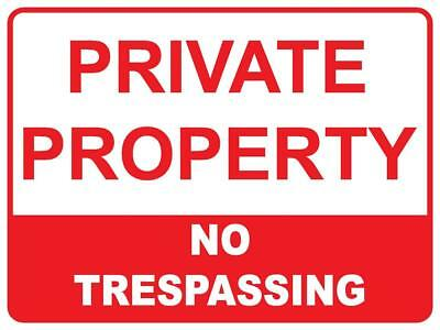(5 X Signs) Private Property No Trespassing - 300 X 200Mm - Plastic Corflute