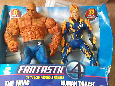 "Fantastic Four 12"" Figures Thing & Human Torch (Still in Box)"