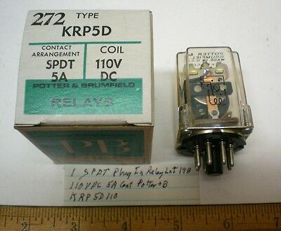 1 Plug-In Relay,SPDT,110VDC Coils,5A Cont Potter Brumfield#KRP5D110, Lot 198 USA