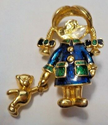 Vintage Girl W/ Dangling Teddy Bear Brooch Pin - No Face For Personalization