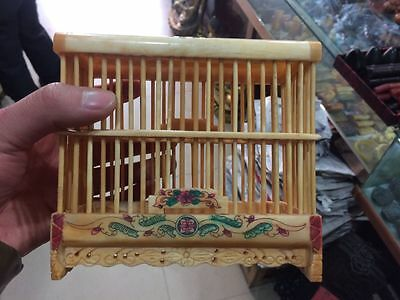 Collect Chinese Old Traditional Handmade Art Bone Carving Cricket Bird Cage