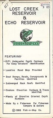 Fish-n-Map Co. LOST CREEK RESERVOIR & ECHO RESERVOIR Utah c1988