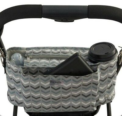 New Outlook Pram Stroller Caddy Ziggy Slate Grey Free Express Shipping