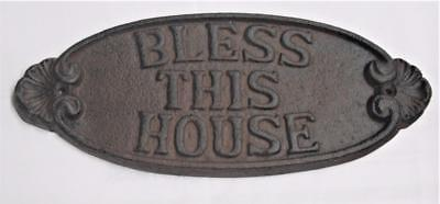 Heavy Foundry Cast Iron <> Bless This House Sign <> Oval Ornate Wall Plaque