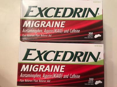 2 Boxes Excedrin Migraine 300 Ct 600 Total Caplets Headache Pain Reliever 4/2018
