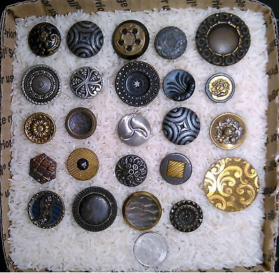 Antique Buttons Lot 24pcs. Vintage Sewing Collectable Mixed Metal B612