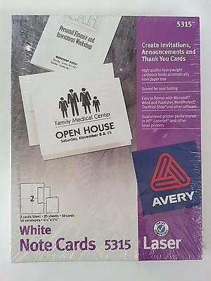 Avery White Matte Note Cards 5315 (NEW)