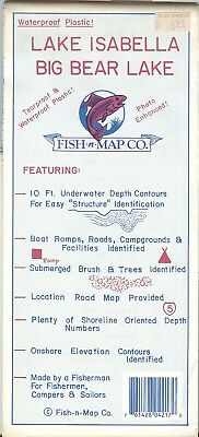 Fish-n-Map Co. LAKE ISABELLA BIG BEAR LAKE Califonria WATERPROOF PLASTIC