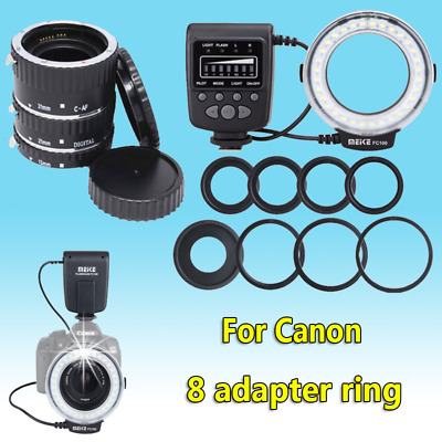 Meike FC100 LED Ring Flash Light&Auto Focus Macro Extension Tube Ring for Canon