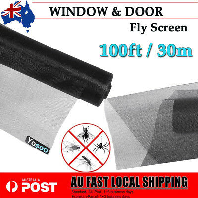 100ft / 30m ROLL INSECT FLYWIRE WINDOW FLY SCREEN NET MESH FLYSCREEN Protector
