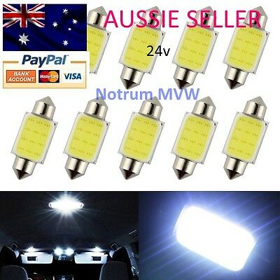 2pcs 24V 39mm Festoon Bright White COB LED C5W Truck 4wd Caravan Bus Bulb Globe