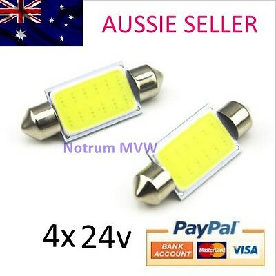 4x 24V Festoon 39mm Bright White COB LED Light Truck 4wd Caravan Bus Bulb Globe