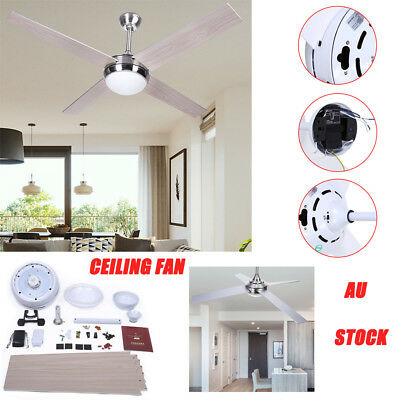 StainlessSteel 52inch Ceiling Fan Light With Remote for Living Room White/Silver