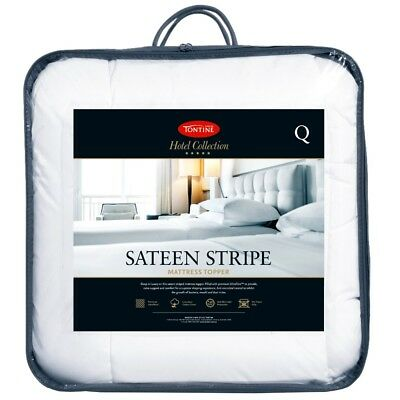 NEW Tontine Hotel Collection Sateen Stripe Topper By Spotlight