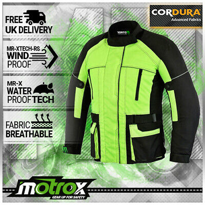 Mens Motorcycle Motorbike Jacket Waterproof Textile Black HI VIS CE Armoured