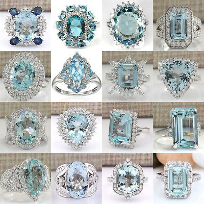 925 Sterling Silver Aquamarine Rings Wedding Engagement Wonderful Jewelry #6-10