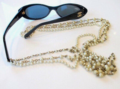 Vintage Chanel 80s Sunglasses Pearl Necklace in Box ->Christmas!
