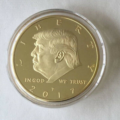 Donald Trump GOLD plated colored The president of USA 38x3 mm Coin gift