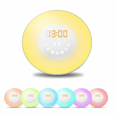 Wake up LED Light Sunrise Alarm Clock w/ FM Radio Bedside Sounds Night Lamp WI