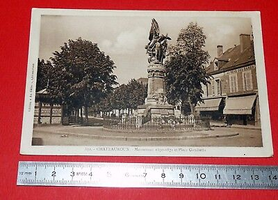 Cpa Carte Postale 1939 Chateauroux 36 Monuments 1870-1871 Place Gambetta