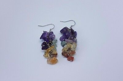 10 pairs of gemstone cluster drop earrings - joblot bundle wholesale jewellery