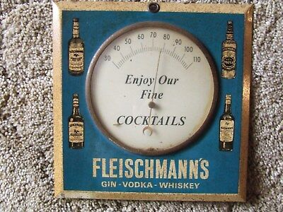 old Advertising Fleischmann's Gin Vodka Whiskey Porcelain Thermometer sign RARE