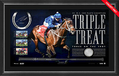 2017 Cox Plate Champion Official Winx Signed Whip and Horseshoe Framed Bowman