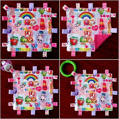 Shopkins Mini Size TaGgie Taggy Tag Blanket Toy Comforter Dummy Clip Holder snap