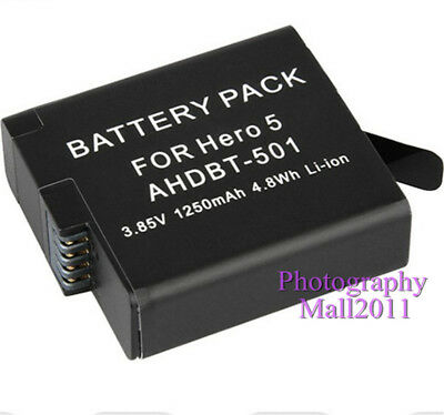 1250mAh Battery For GoPro AHDBT-501 Battery For Hero 7 Hero 6 5 Black Camera